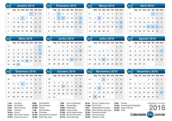 calendário de feriados 2016